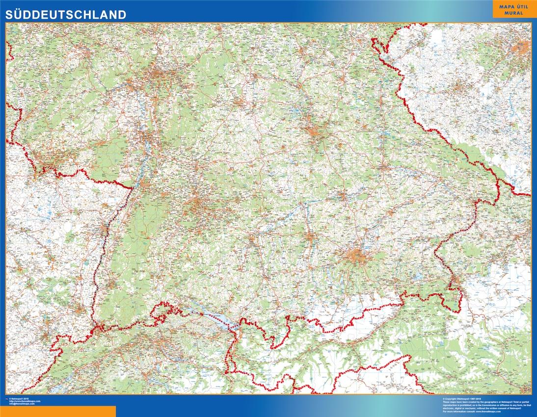 Süddeutschland Landkarte wandkarte