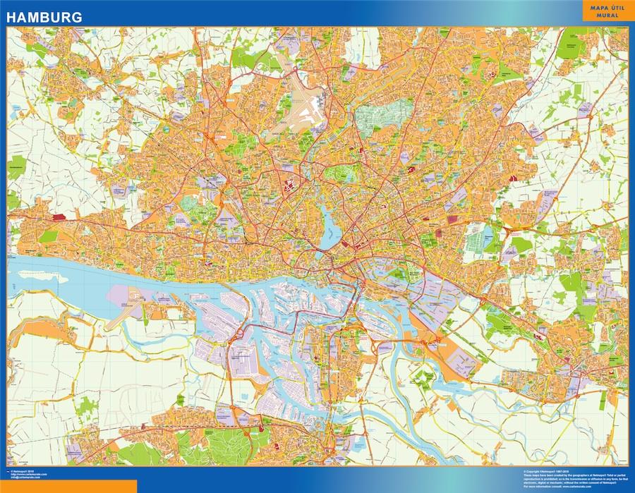 Stadtplan Hamburg wandkarte