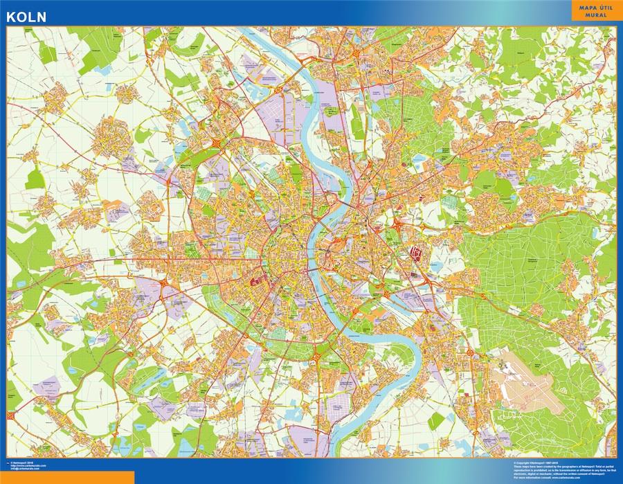Stadtplan Koln wandkarte