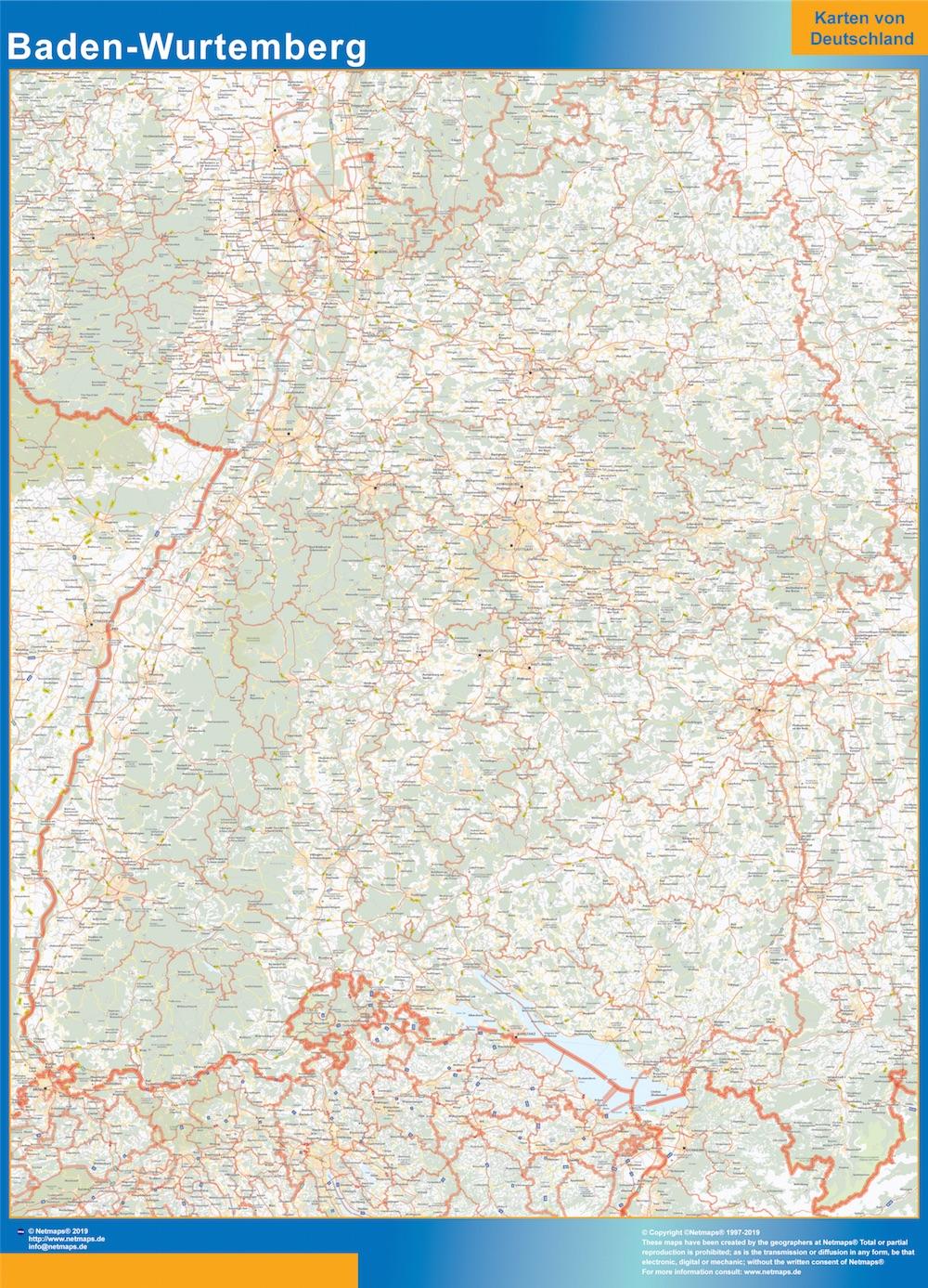 Baden-Wurtemberg Wandkarte