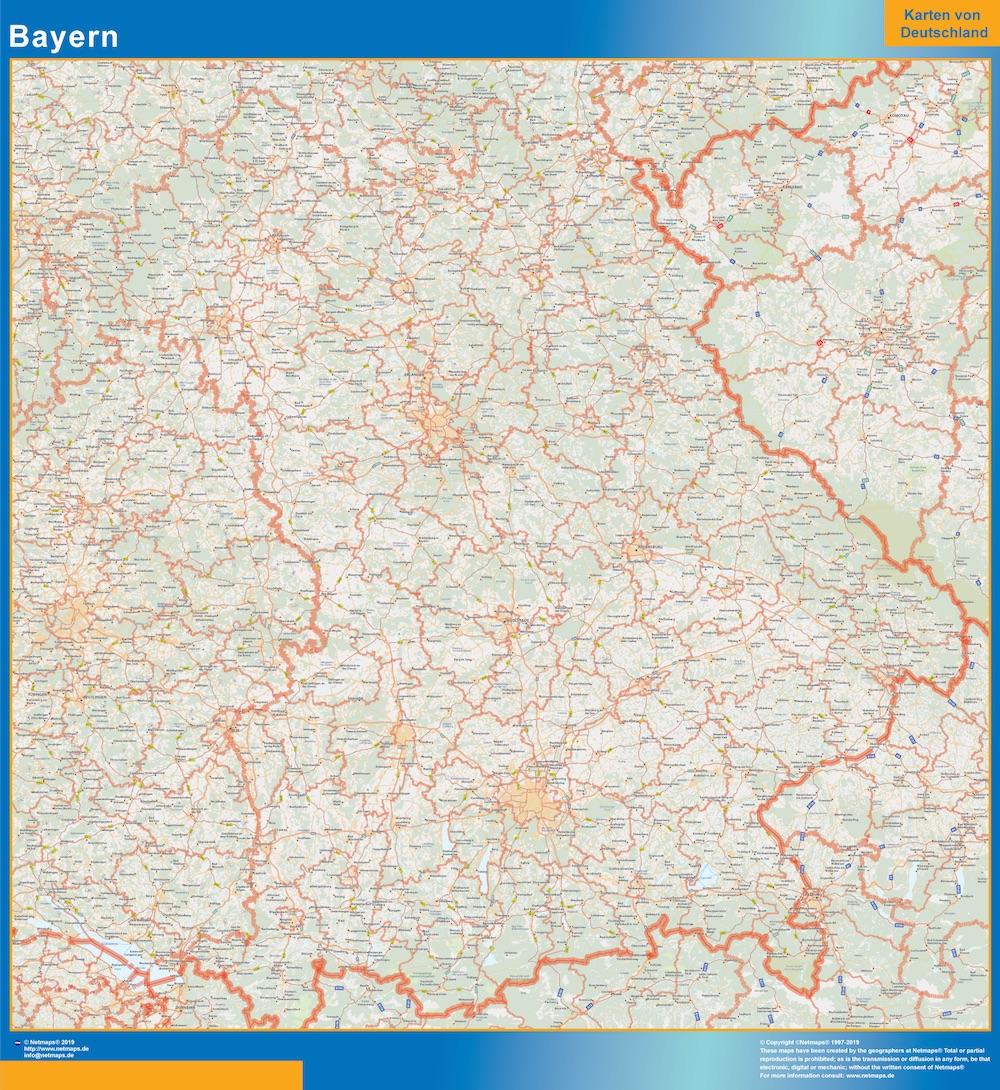 Bayern Wandkarte