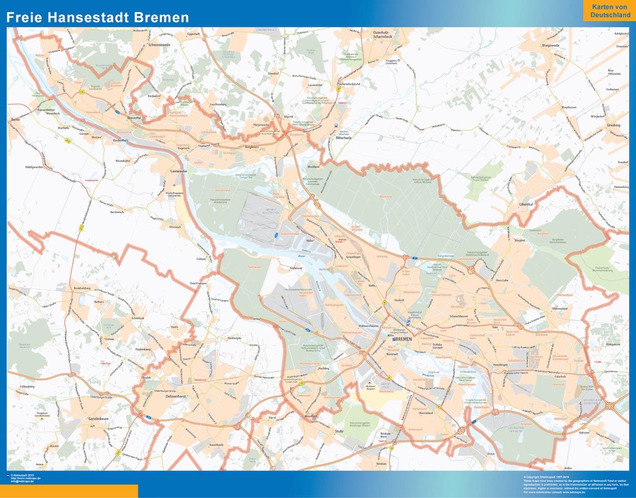 Freie Hansestadt Bremen Wandkarte