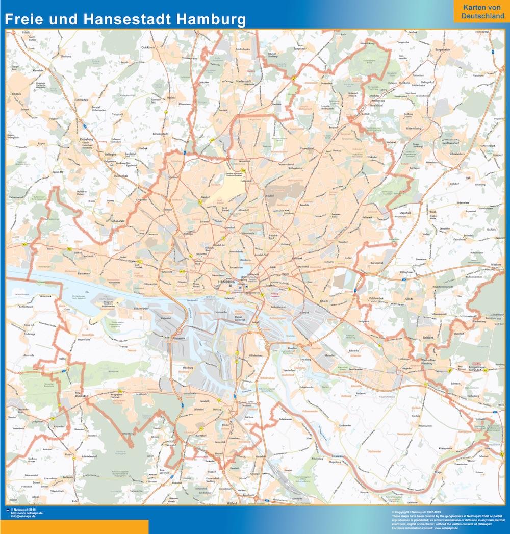 Freie und Hansestadt Hamburg Wandkarte
