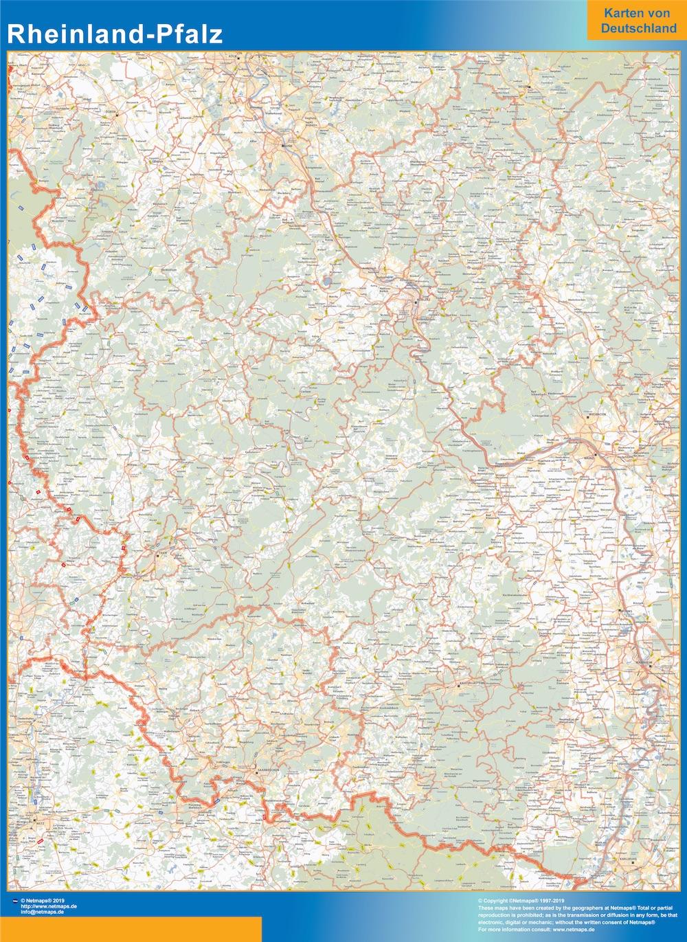 Rheinland-Pfalz Wandkarte