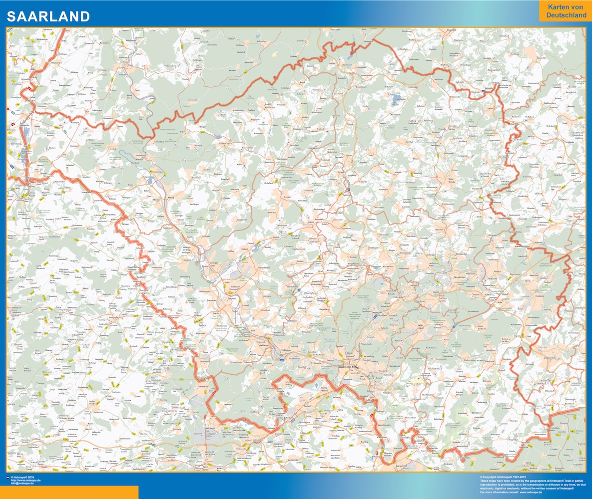 Saarland Wandkarte
