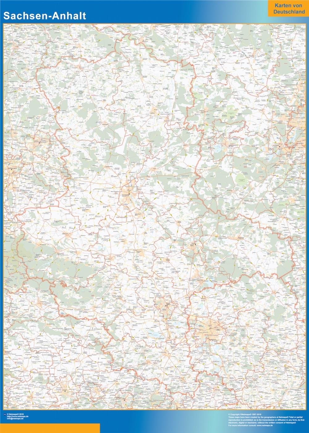 Sachsen-Anhalt Wandkarte